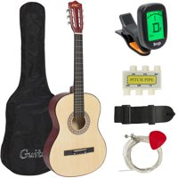 Best Choice Products Beginners 38'' Acoustic Guitar with Case, Strap, Digital E-Tuner, and Pick, (Natural)