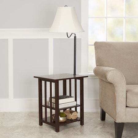Better Homes & Gardens 3-Rack End Table Floor Lamp, Espresso (Floor Lamp With Table)