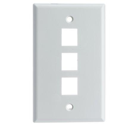 - ACL Keystone 3 Port, Single Gang Wall Plate, White, 1 Pack