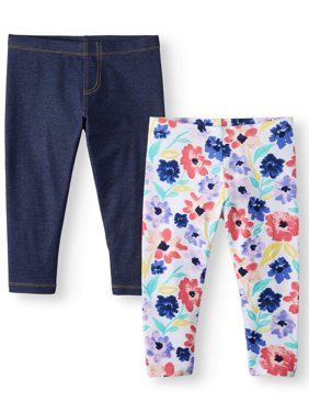 Solid and Printed Capri Leggings, 2-Pack (Little Girls & Big Girls)