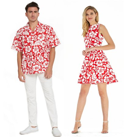 Couple Matching Hawaiian Luau Cruise Outfit Shirt Vintage Fit and Flare Dress Classic Vintage Hibiscus Red Men 2XL Women L - Luau Hawaii