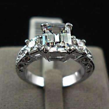 Emerald Cut Accent (ON SALE - Timeless Three Stone Emerald Cut Swiss CZ Diamond Engagement Ring with Princess Accents - Ring 5.25)