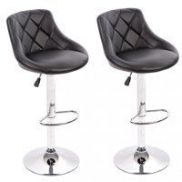 PU Leather Bar Stools Modern Swivel Dinning Kitchen Chair, Set Of 2