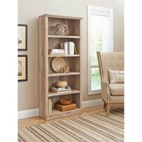 "Better Homes & Gardens 71"" Crossmill 5-Shelf Bookcase, Weathered"