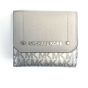 cdb55c1cd666 NEW WOMENS MICHAEL KORS HAYES SIGNATURE METALLIC MEDIUM TRIFOLD COIN CASE  WALLET (Silver)