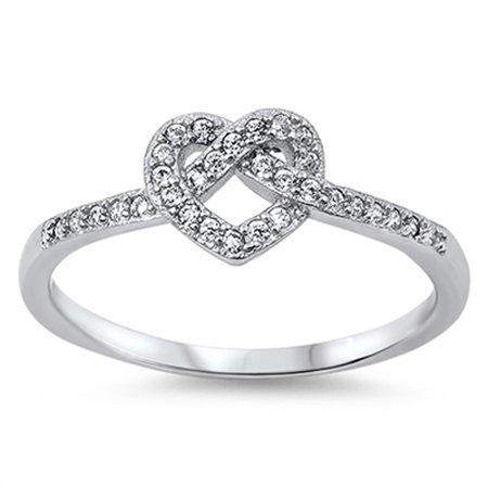 CHOOSE YOUR COLOR Infinity Knot Heart Love Clear CZ Promise Ring .925 Sterling - Color Cubic Zirconia Ring