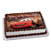 Cars 3 Lightning McQueen Disney Quarter Sheet Edible Photo Birthday Cake Topper Personalized