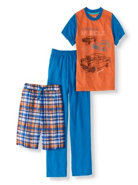 Cherokee Boy's Muscle Car Tee, Shorts and Pants 3-Piece Sleep Set (Big Boys & Little Boys)