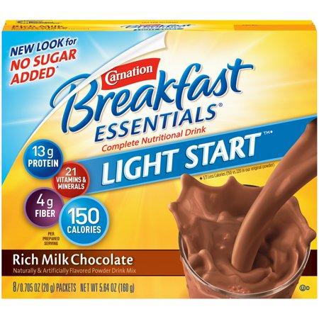 Carnation Breakfast Essentials Light Start Powder Drink Mix, Rich Milk Chocolate, 0.71 oz. Packets, 8 Count