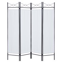 Best Choice Products 6ft 4-Panel Folding Privacy Screen Room Divider Decoration Accent for Bedroom, Living Room, Office w/ Steel Frame - White