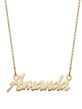 Personalized Women's Silvertone or Goldtone Name Necklace, 18""