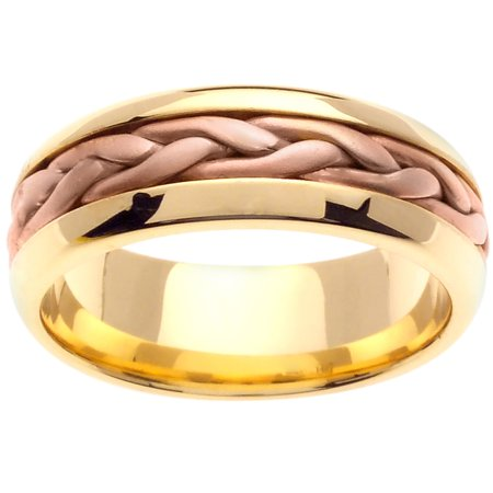14K Two Tone Gold French Braid Handmade Comfort Fit Women's Wedding Band (7mm) ()