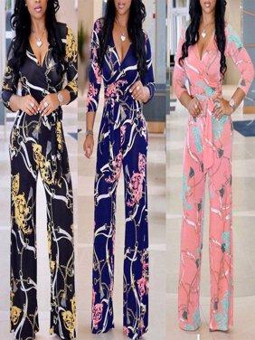 Women V Neck Clubwear Playsuit Bodysuit Party Jumpsuit Romper Long Trousers Hot