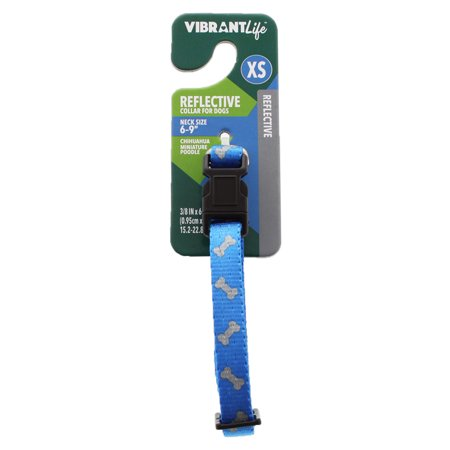 Bejeweled Collars - Vibrant Life Reflective Blue Bones Dog Collar, X-Small, 6-9 in