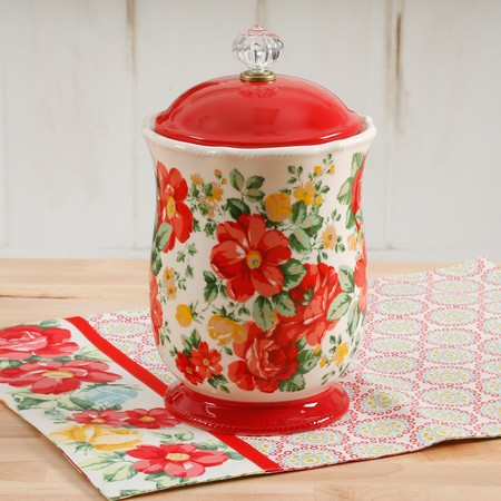 Decorated Storage Canisters (The Pioneer Woman Vintage Floral 10-Inches Canister w/Acrylic Knob )