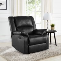 Mainstays Faux Leather Upholstered Cushion-Back Recliner, Multiple Colors