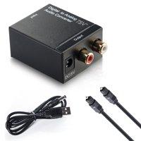Fiber Cable Digital Optical Coax to Analog RCA L/R Audio Converter Adapter