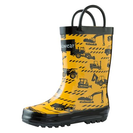 Oakiwear Kids Rain Boots For Boys Girls Toddlers Children, Construction (Best Ski Boots For Kids)