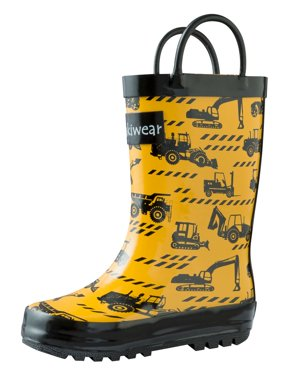 Oakiwear Kids Rain Boots For Boys Girls Toddlers Children, Construction Vehicles