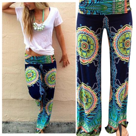 Women's Casual Middle Waist Retro Flare Flower Printing Wide Leg Pants Green