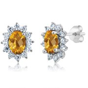 e1eda7955 2.12 Ct Oval Checkerboard Yellow Citrine 925 Sterling Silver Earrings