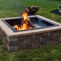 Sunnydaze Large Square Fire Pit Ring Insert, DIY Firepit Rim Liner Above or In-Ground, Outdoor Heavy Duty 2.0mm Steel, 42-Inch Square Outside, 36-Inch Square Inside Dimensions
