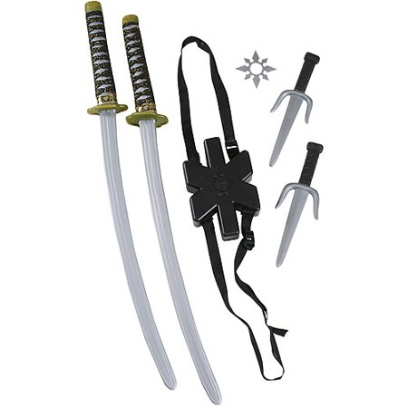 Ninja Double Sword Set Child Halloween Costume Accessory - Kids Face Painted For Halloween