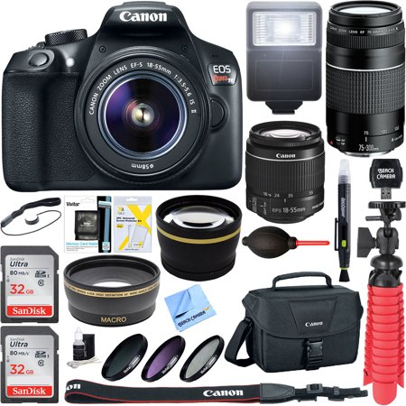 Canon EOS Rebel T6 Digital SLR Camera w/ EF-S 18-55mm IS + EF-S 75-300mm Lens Bundle includes Camera, Lenses, Bag, Filter Kit, Memory Card, Tripod, Flash, Cleaning Kit, Beach Camera Cloth and (Lowepro Passport Sling Iii Digital Slr Camera Case)