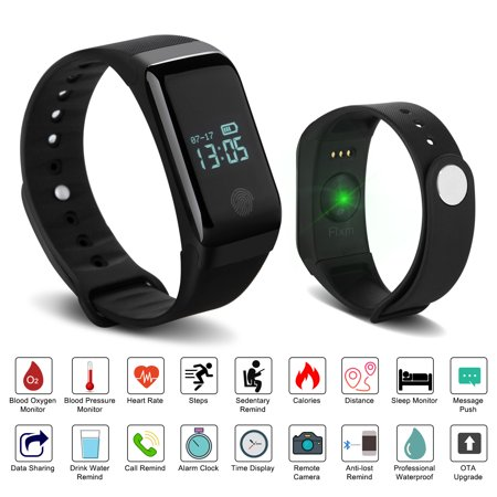 Fixm IP67 Waterproof Fitness Tracker Smart Wristband Heart Rate Blood Pressure Oximeter Blood Oxygen Sleep - Plus Heart Rate Monitor Watch