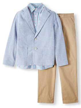 Dressy Sportswear Set with Knit Blazer, Plaid Shirt, and Twill Pull-On Pants, 3-Piece Outfit Set (Little Boys & Big Boys)