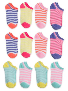 Wonder Nation No Show Socks, 12 Pairs (Little Girls & Big Girls)