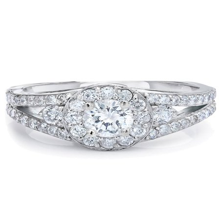 3/4ct Halo Diamond Engagement Ring 14K White gold Vintage Split Shank