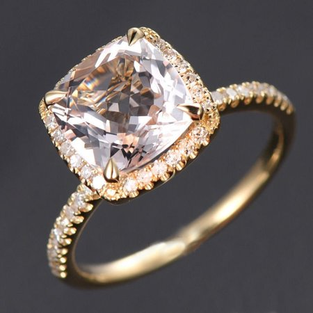 1.50 Carat Cushion Cut Peach Pink Morganite and Diamond Halo Engagement Ring in 10k Yellow Gold for