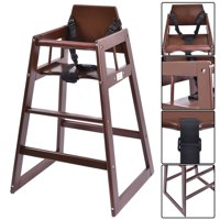 Costway Baby High Chair Wooden Stool Infant Feeding Children Toddler Restaurant Natural (BN)