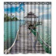 PHFZK Ocean Theme Shower Curtain Long Wooden Bridge In Beautiful Tropical Island Beach Polyester Fabric