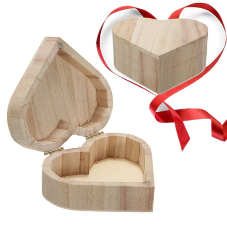 Heart Shape DIY Unfinished Unpainted Wooden Wood Jewelry Gift Box Ring Earrings Case Plain Ready to Paint Christmas](Diy Ring Box)