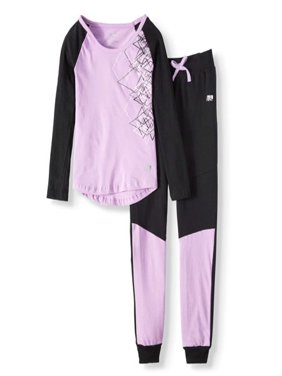 Performance Graphic Tee & Fleece Jogger, 2-Piece Active Set (Little Girls & Big Girls)