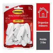 Command Wire Hooks Value Pack, Medium, White, 7 Hooks, 12 Strips/Pack