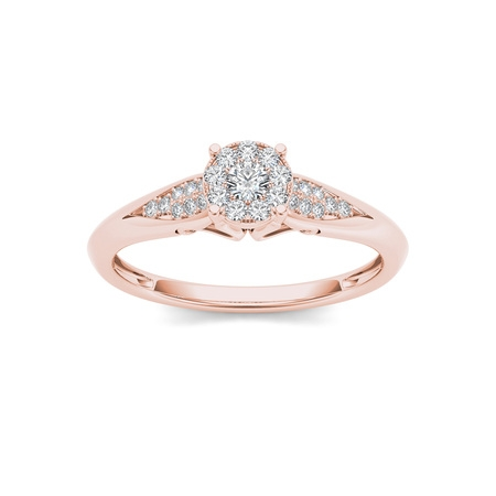 1/6Ct TDW Diamond 10K Rose Gold Cluster Ring Engagement Ring (Halloween Engagement Rings)