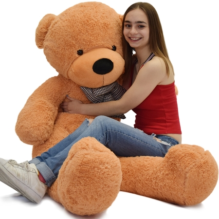 Flannel Newborn Teddy Bears - WOWMAX 4.5 Foot Light Brown Giant Huge Teddy Bear Cuddly Stuffed Plush Animals Teddy Bear Toy Doll 55
