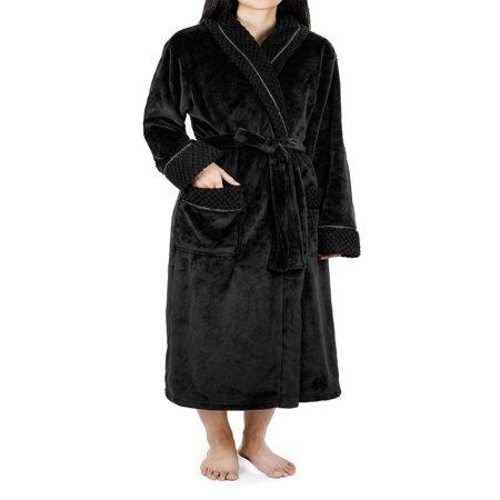 Deluxe Women Fleece Robe with Satin Trim | Luxurious Plush Spa Bathrobe Waffle Design (Halloween Black Hooded Robe)