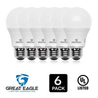 Great Eagle LED Dimmable Light Bulb, 14W (100W Equivalent), 3000K Bright White, 1550 Lumens, A19 shape, E26 base, UL Listed, Brightest and Best LED bulbs for general use. 6-count