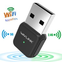 Wavlink 600Mbps USB Wi-Fi Adapter  2.4G/5G Wireless Dual Band Ethernet Network LAN Card Dongle for Laptop Desktop Win XP/7/8/10 , Mac OS X 10.4-10.12.2