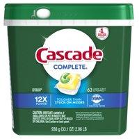 Cascade ActionPacs Dishwasher Detergent, Lemon, 63 count
