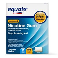Equate Uncoated Nicotine Gum, Original Flavor, 2 mg, 170 Count