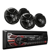 Pioneer DEH-150MP Car Audio CD MP3 Stereo Radio Player, Front Aux Input with JVC 6.5 Inch 2-WAY Car Audio Speaker (Black)