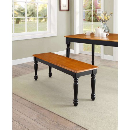 Better Homes & Gardens Autumn Lane Farmhouse Solid Wood Dining Bench, Black and Natural Finish (5 Round Bench)