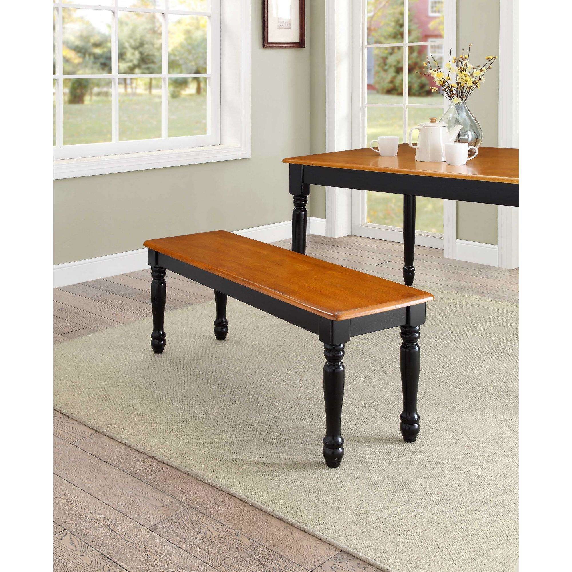 Astounding Better Homes Gardens Autumn Lane Farmhouse Solid Wood Dining Bench Black And Natural Finish Andrewgaddart Wooden Chair Designs For Living Room Andrewgaddartcom