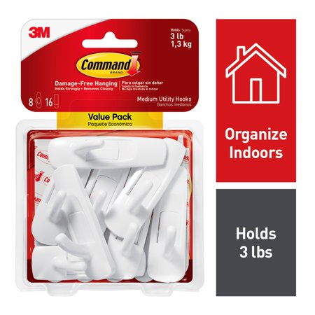 3M Command Damage-Free Medium Utility Hooks, Holds 3 lbs, Decorate without Tools, Indoor, 8 Hooks, Value Pack (17001-8ES) - Disney Hook