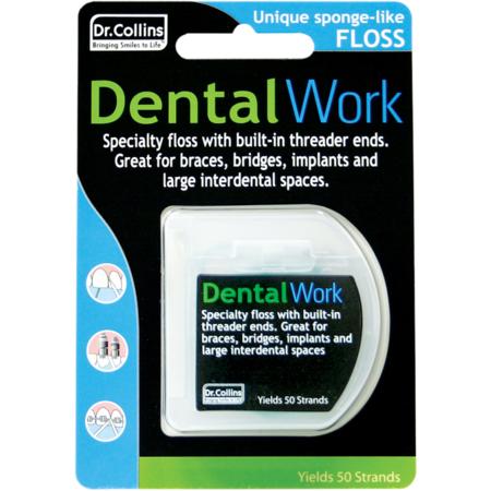 (2 Pack) Dr. Collins Dental Work Specialty Floss Strands, 50 Ct